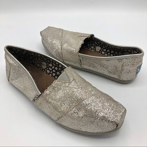 Toms Silver Glitter Shiny Slip On Flats Shoes 7.5